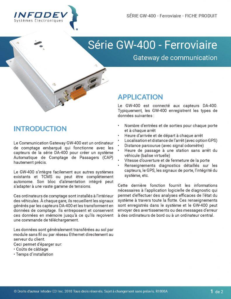 Infodev EDI Product Brief GW-400 Ferroviaire